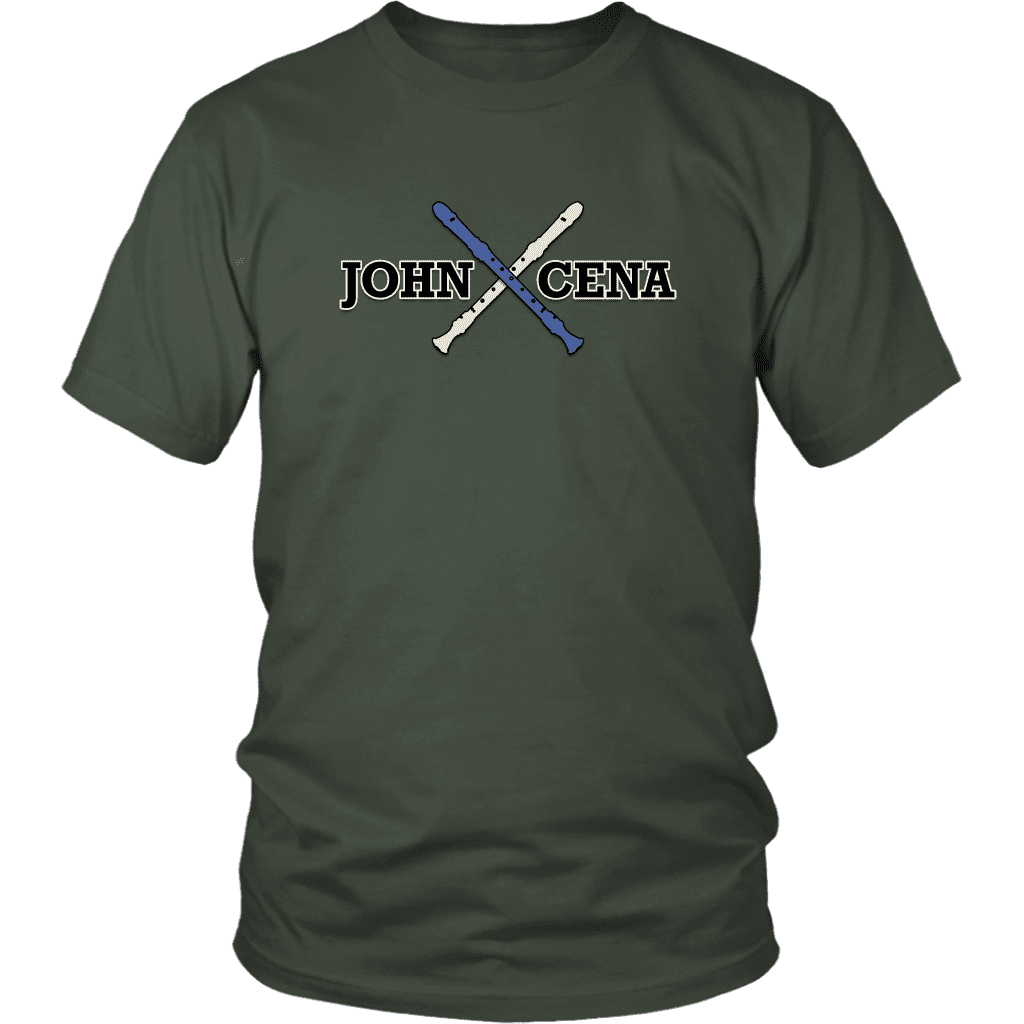 "A unisex tee shirt that says ""John Cena"" with two recorders behind it, referencing the funny nose recorder kid vine."