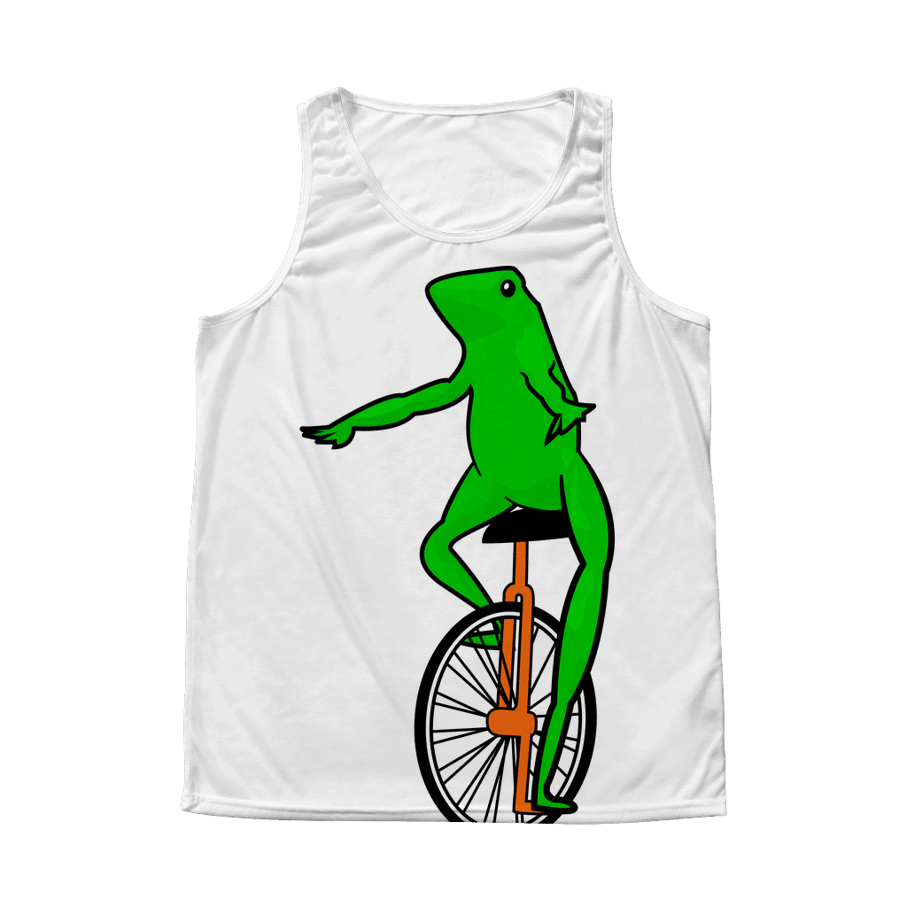 "An all-over sublimated dye tank top with a very large ""Dat boi"" cartoon meme frog on the front."