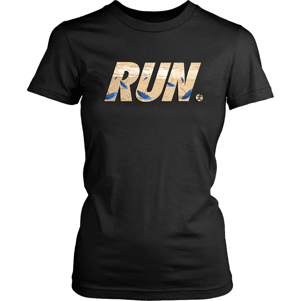 "A women's tee shirt with the word ""RUN"" across the front. In letters is a man running away from flying beach umbrellas."