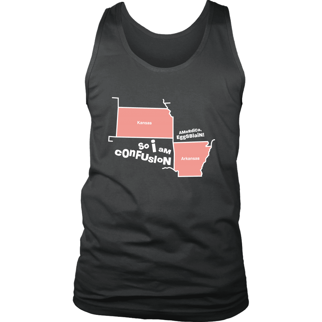 A mens tank top with outlines of Kansas and Arkansas with text referencing a popular vine by The Sadia Arabia