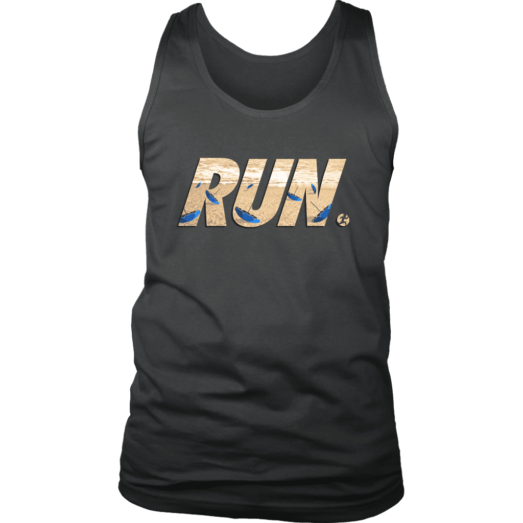 "A mens tank top with the word ""RUN"" across the front. In letters is a man running away from flying beach umbrellas."