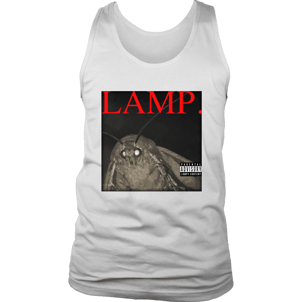 A mens tank top with a picture of a moth and the word LAMP, parodying Kendrick Lamar's hit album DAMN.