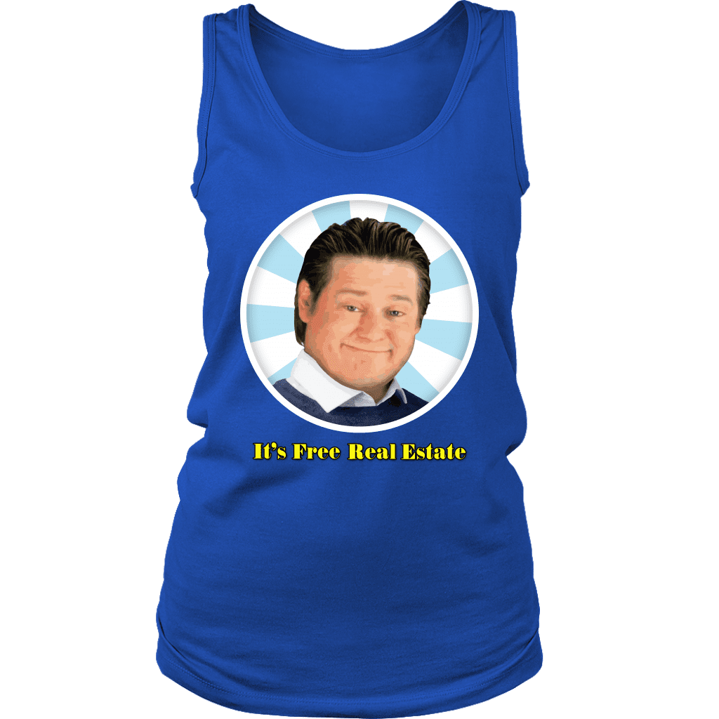 "A womens tank top with a mans smirking face (from the tim and eric show) that says ""it's free real estate"""