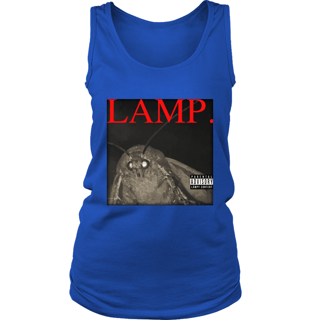 A women's tank top with a picture of a moth and the word LAMP, parodying Kendrick Lamar's hit album DAMN.