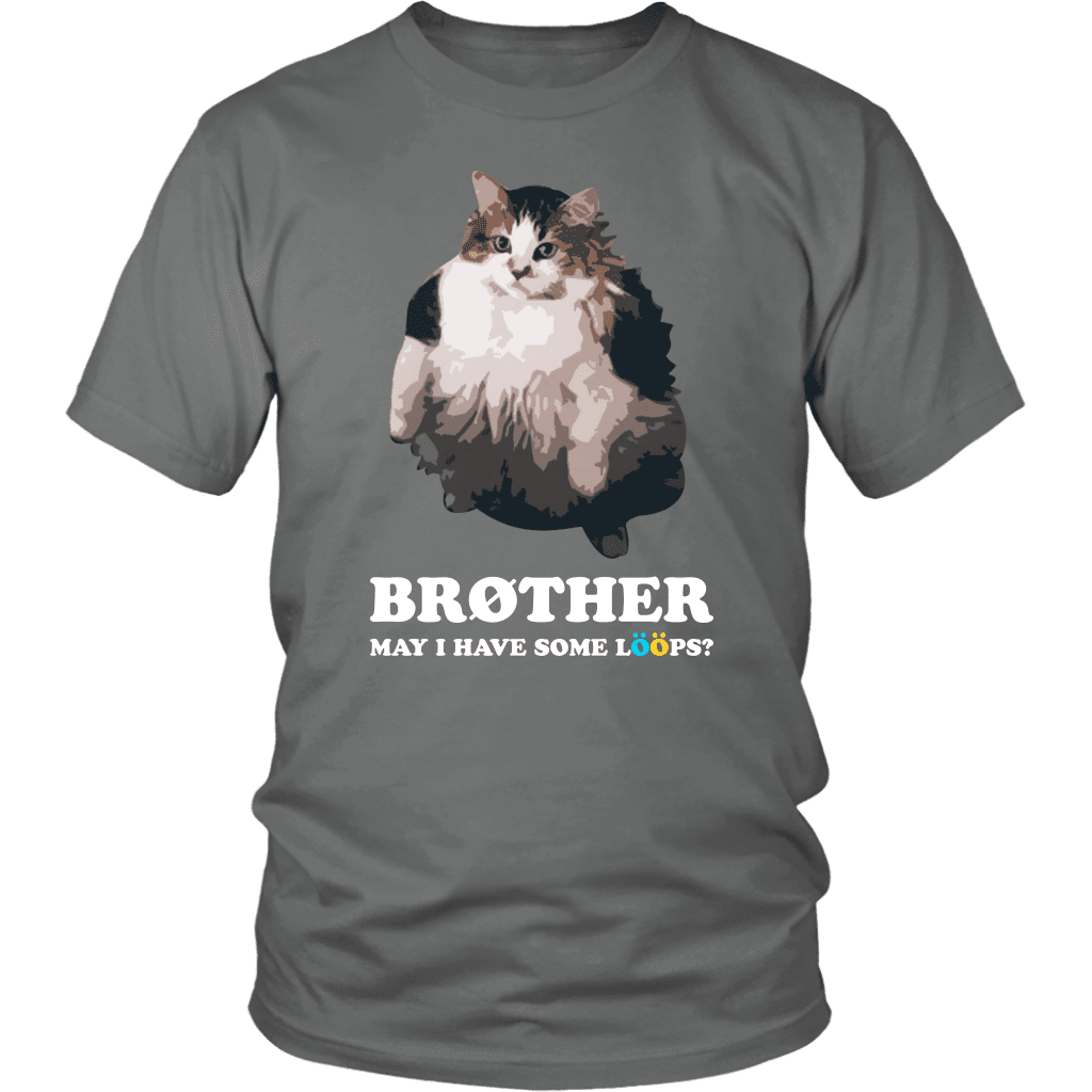 "A unisex tee shirt with an overweight cat and the text ""brother, may I have some loops"" above it."