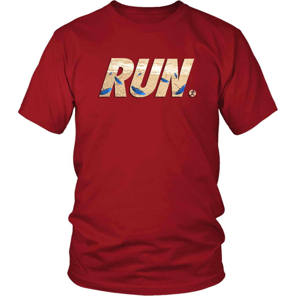 "A unisex tee shirt with the word ""RUN"" across the front. In letters is a man running away from flying beach umbrellas."