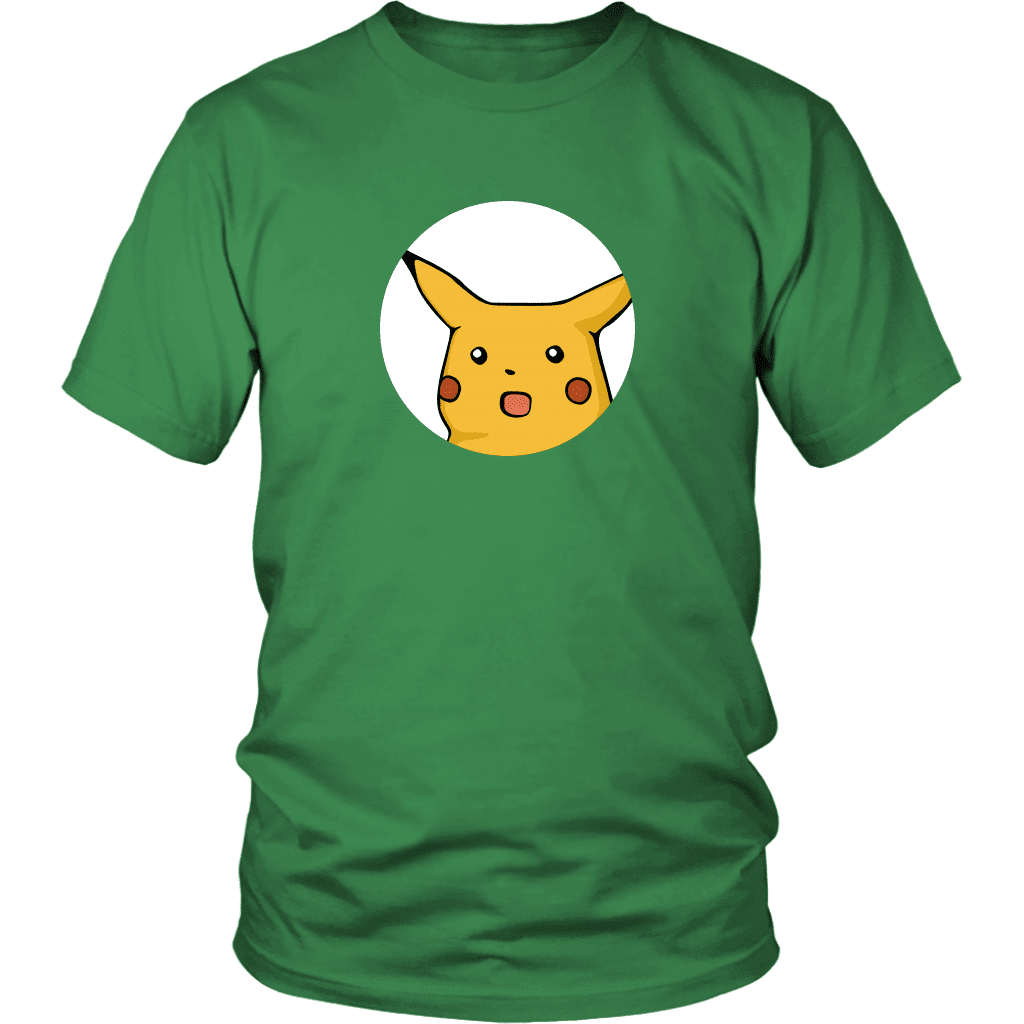 A unisex tee shirt with a surprised-looking Pikachu pokemon peeking out of a circle in the front center.