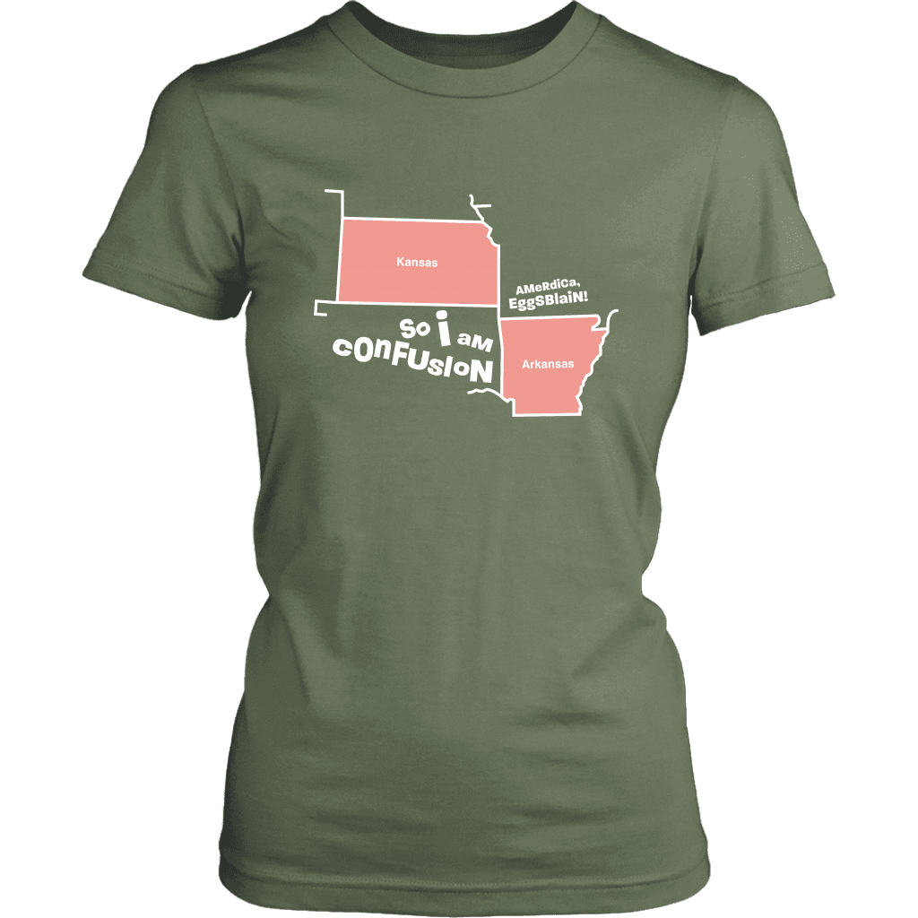 A womens tee shirt with outlines of Kansas and Arkansas with text referencing a popular vine by The Sadia Arabia