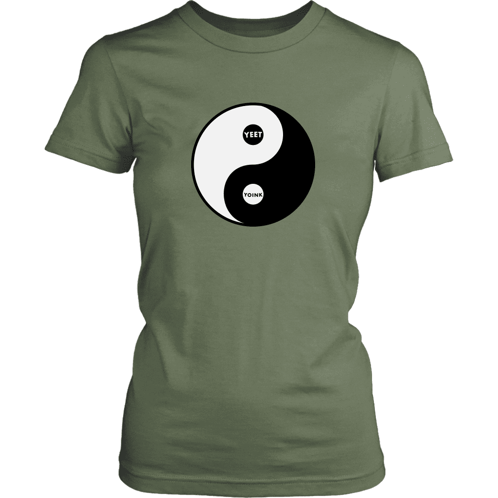 "A women's tee with the yin/yang symbol, but replaced with ""yeet"" and ""Yoink"""