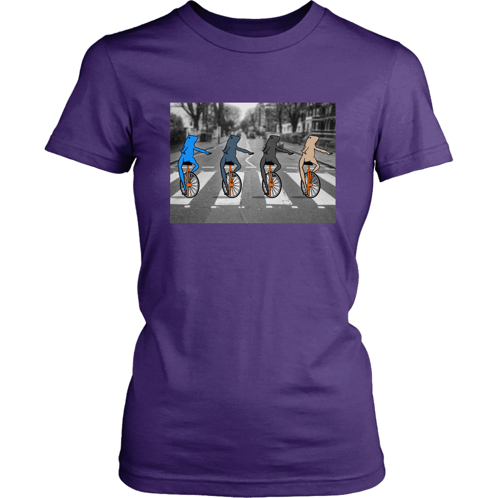 "Womens Tee featuring four multi-colored ""dat boi"" frogs crossing a road on their unicycles, parodying the beatles album."