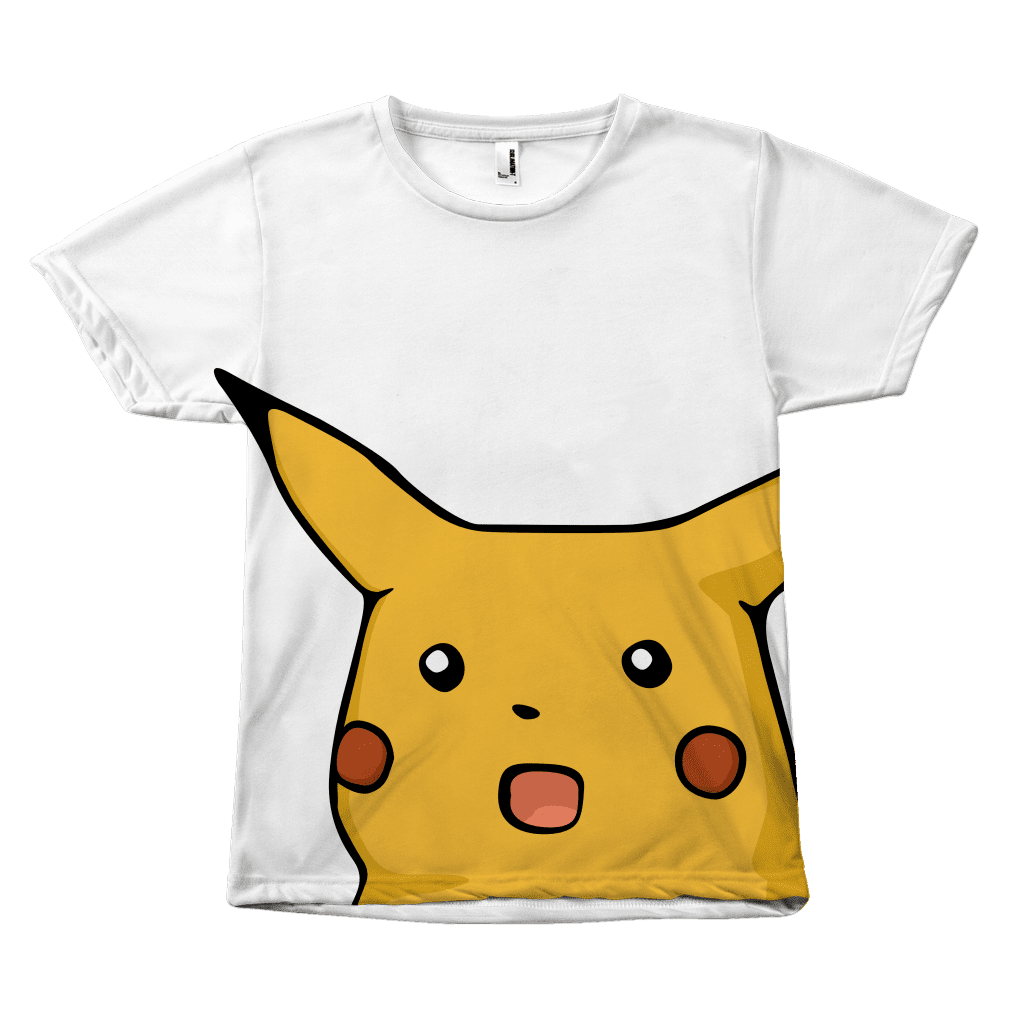 An all-over sublimated tee shirt with a very large surprised-looking Pikachu pokemon stretched across the front