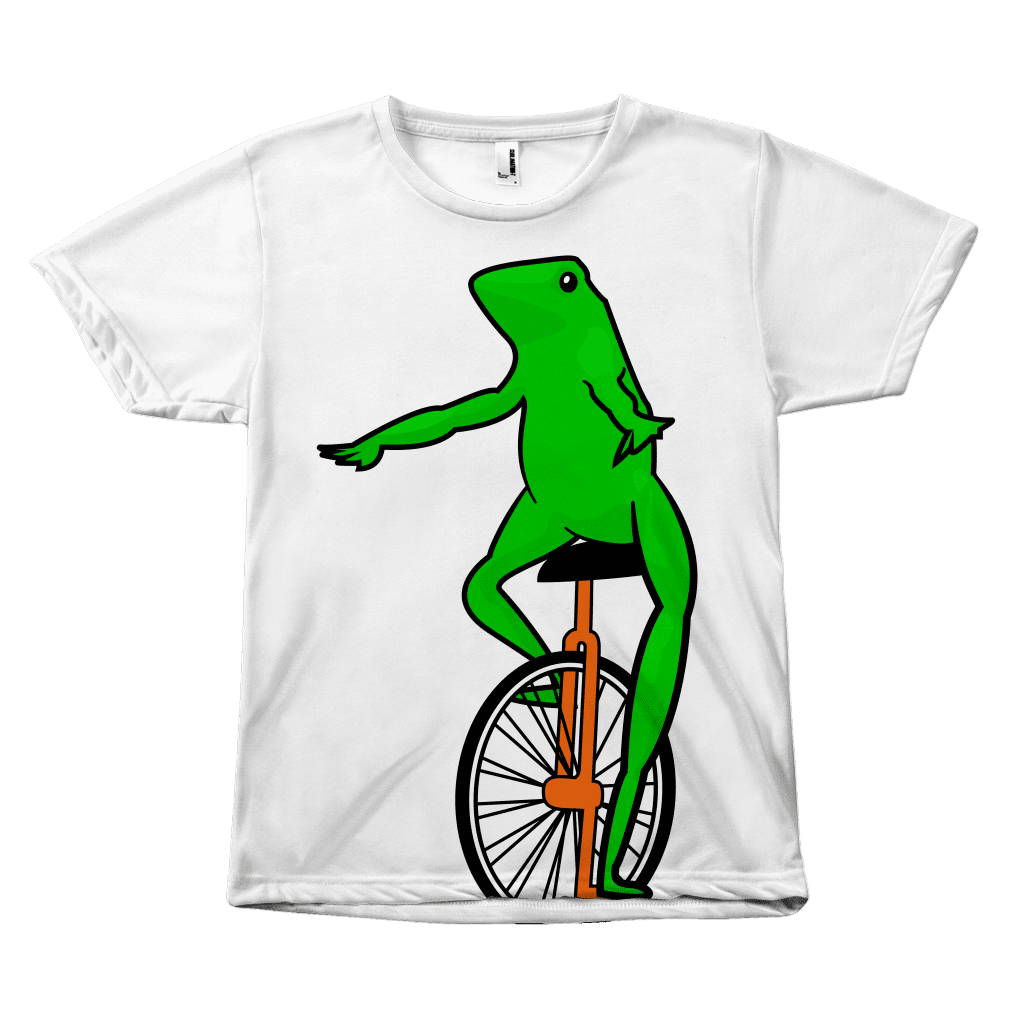 "An all-over sublimated dye tee shirt with a very large ""Dat boi"" cartoon meme frog on the front."