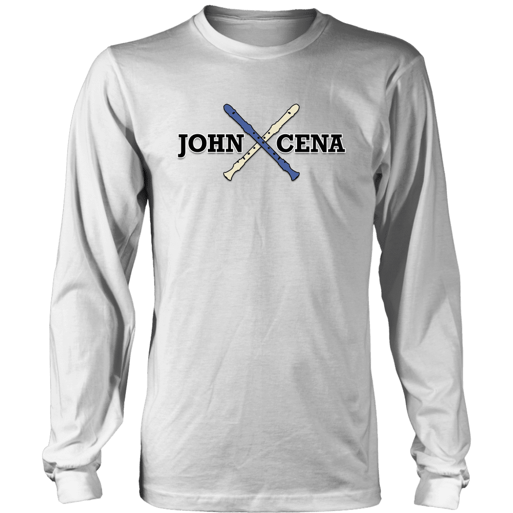 "A long sleeve tee shirt that says ""John Cena"" with two recorders behind it, referencing the funny nose recorder kid vine."