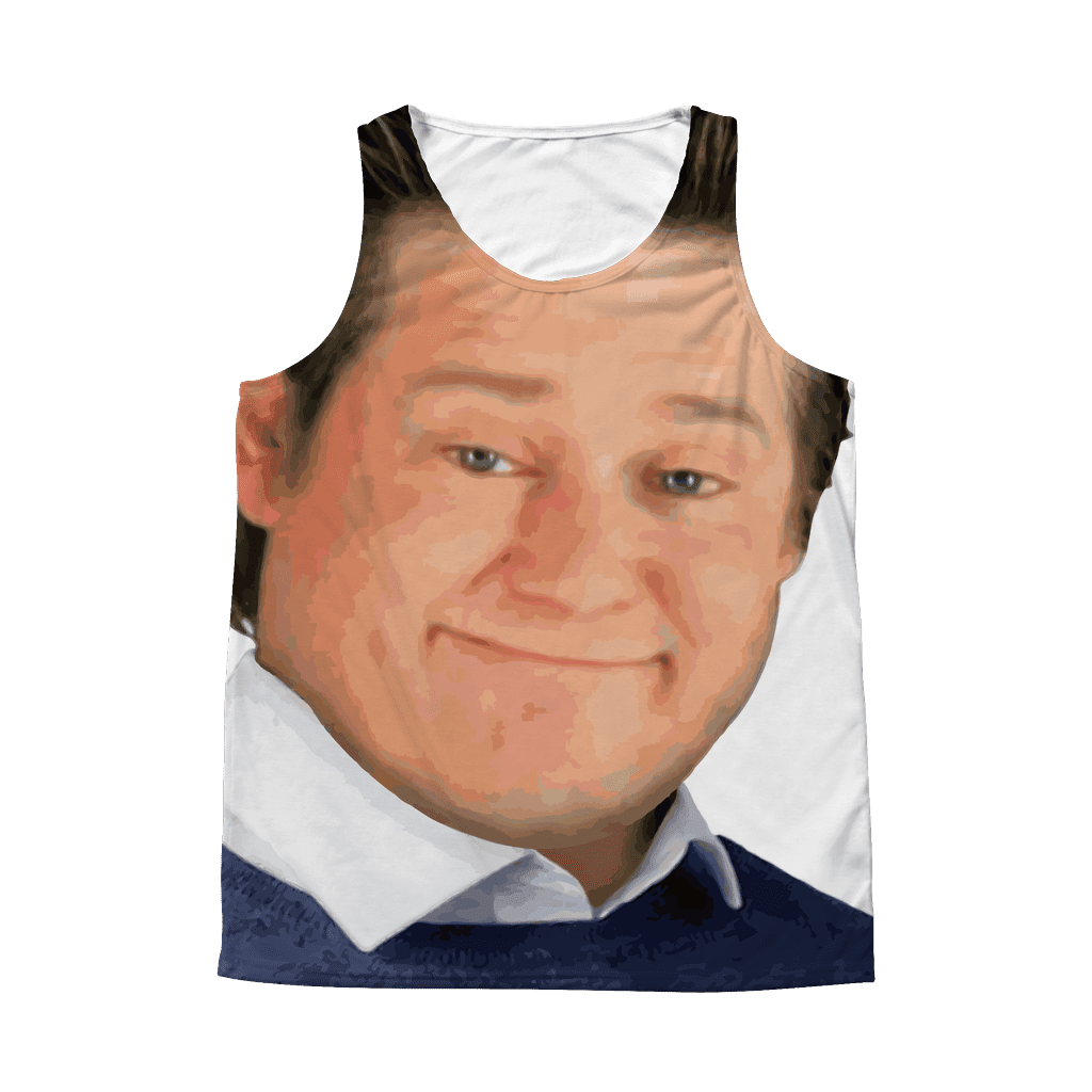 "An all-over sublimated dye tank top with a mans smirking face across front from the ""it's free real estate"" viral video"