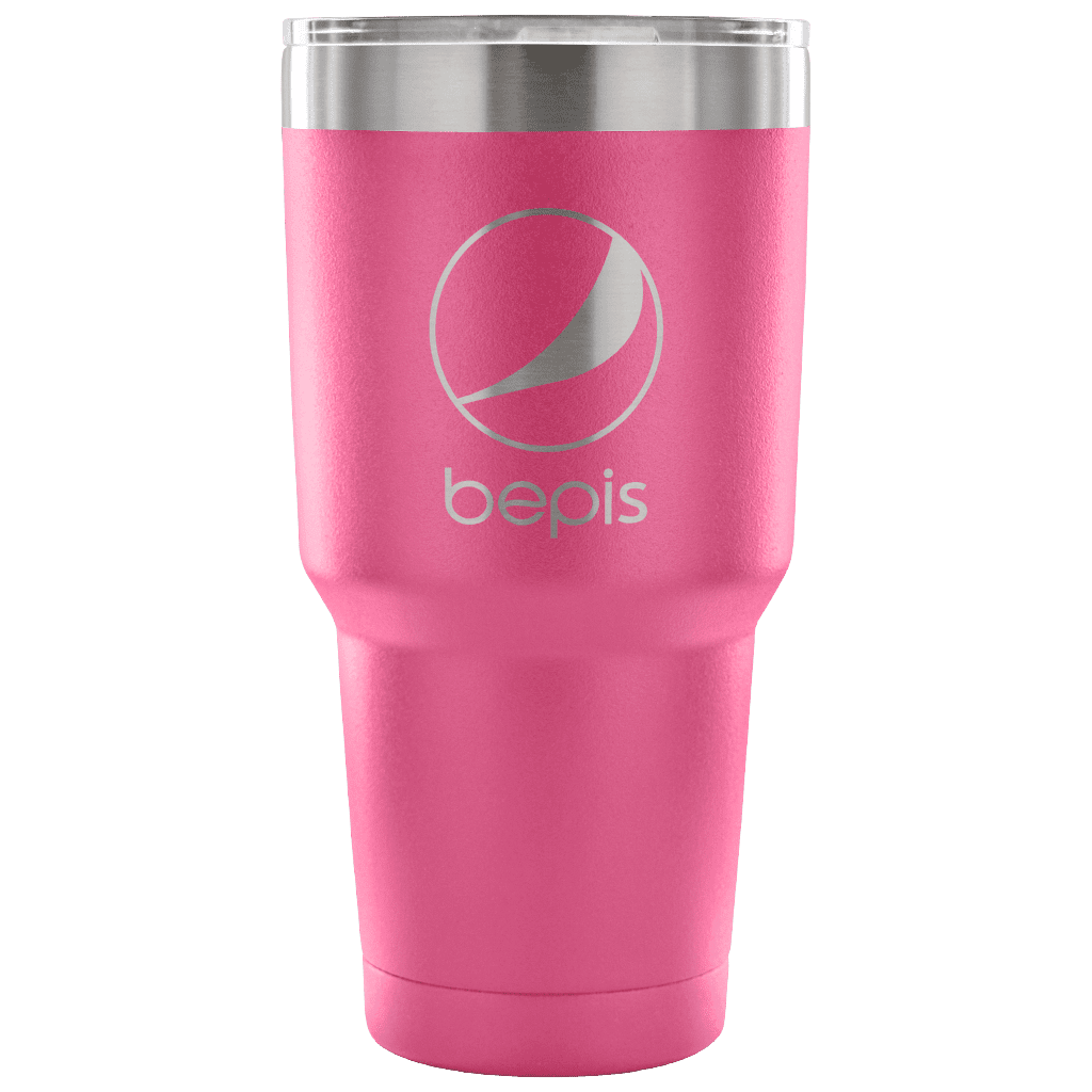 "A 30oz insulated beverage tumbler with a pepsi logo that says ""bepis"" under it."