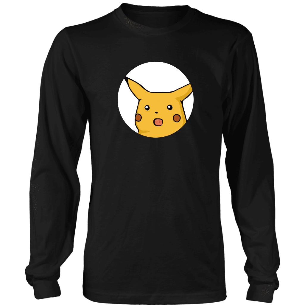 A long sleeve tee shirt with a surprised-looking Pikachu pokemon peeking out of a circle in the front center.