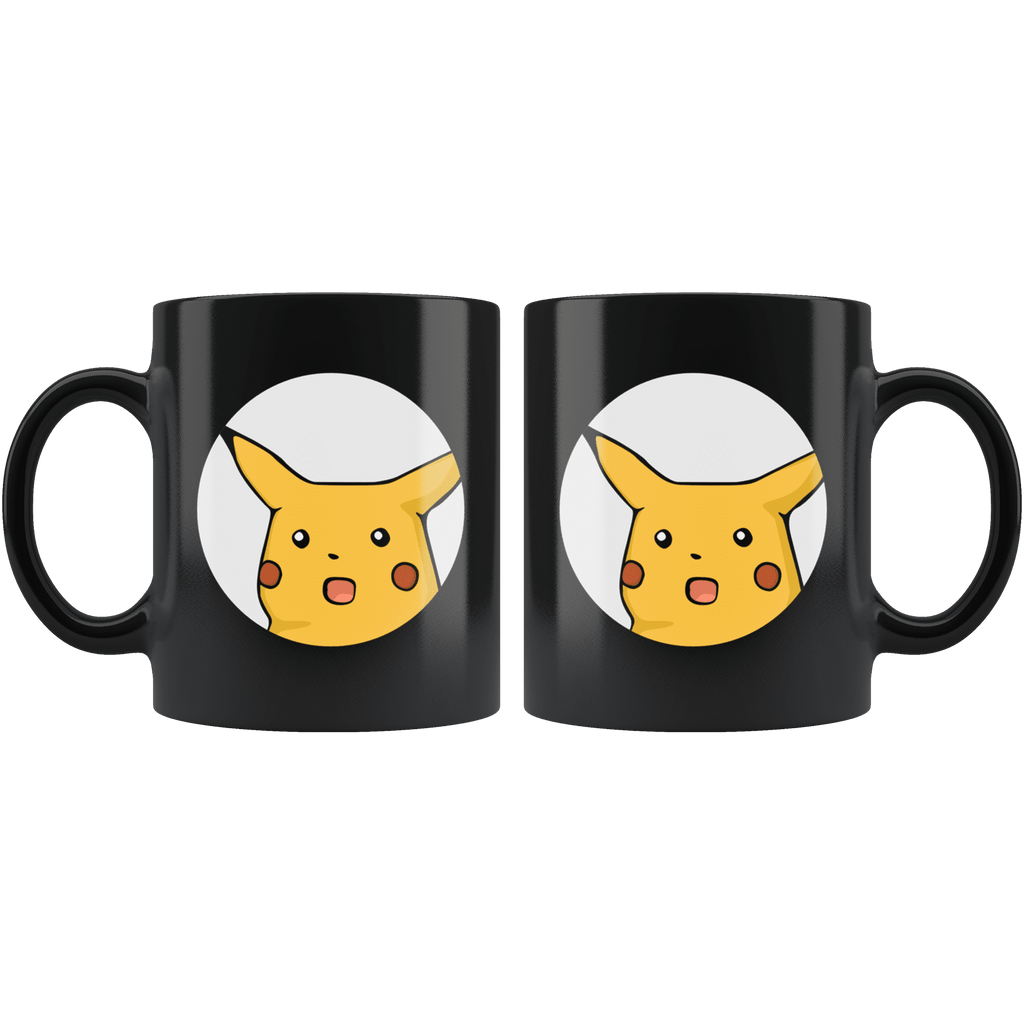 SUPRISED PIKACHU | Black 11oz Mug - Meme-Based Apparel & Merch by Dank Swankitude - Shirts, Hats, Mugs, Pillows, & More