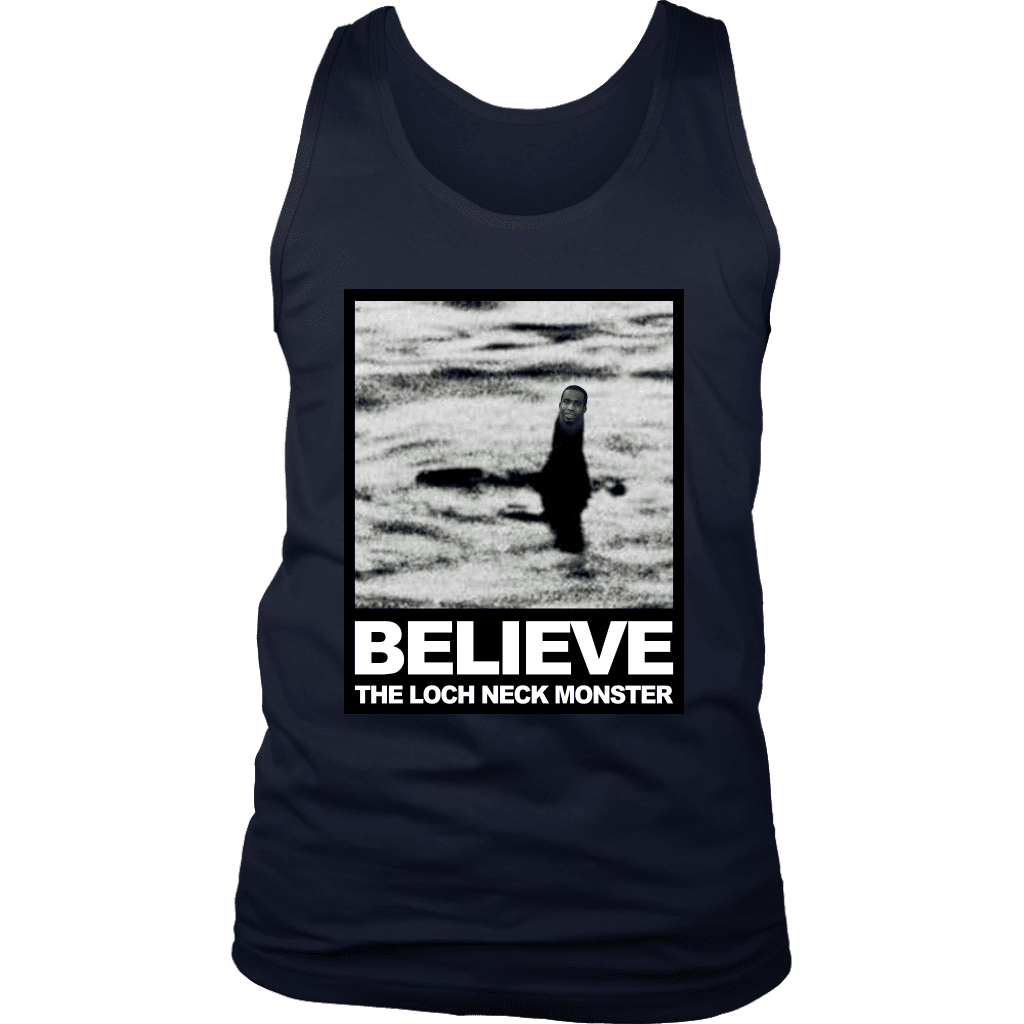 "A mens tank top with a photo compilation of ""big neck guy"" charles dion mcdowell and the Loch Ness Monster."