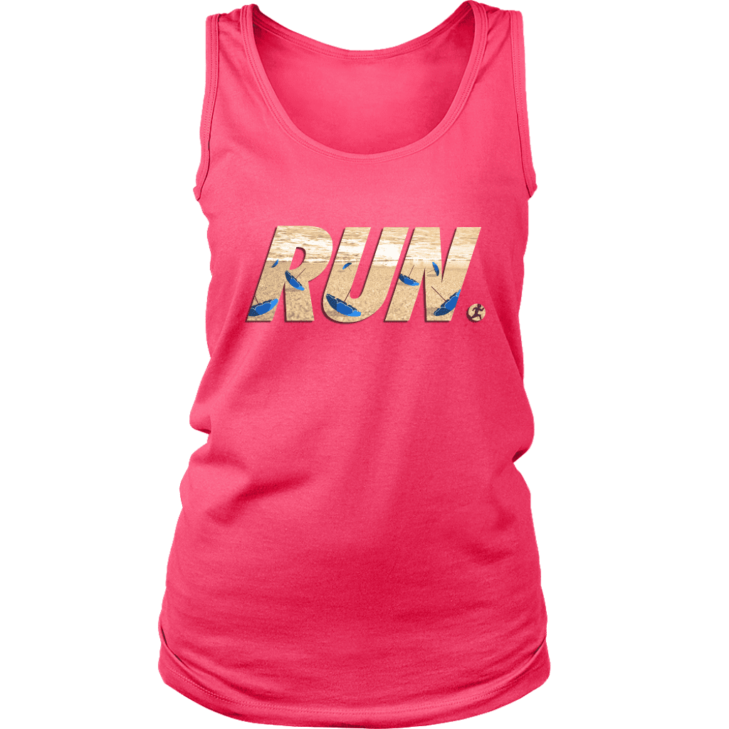 "A women's tank top with the word ""RUN"" across the front. In letters is a man running away from flying beach umbrellas."