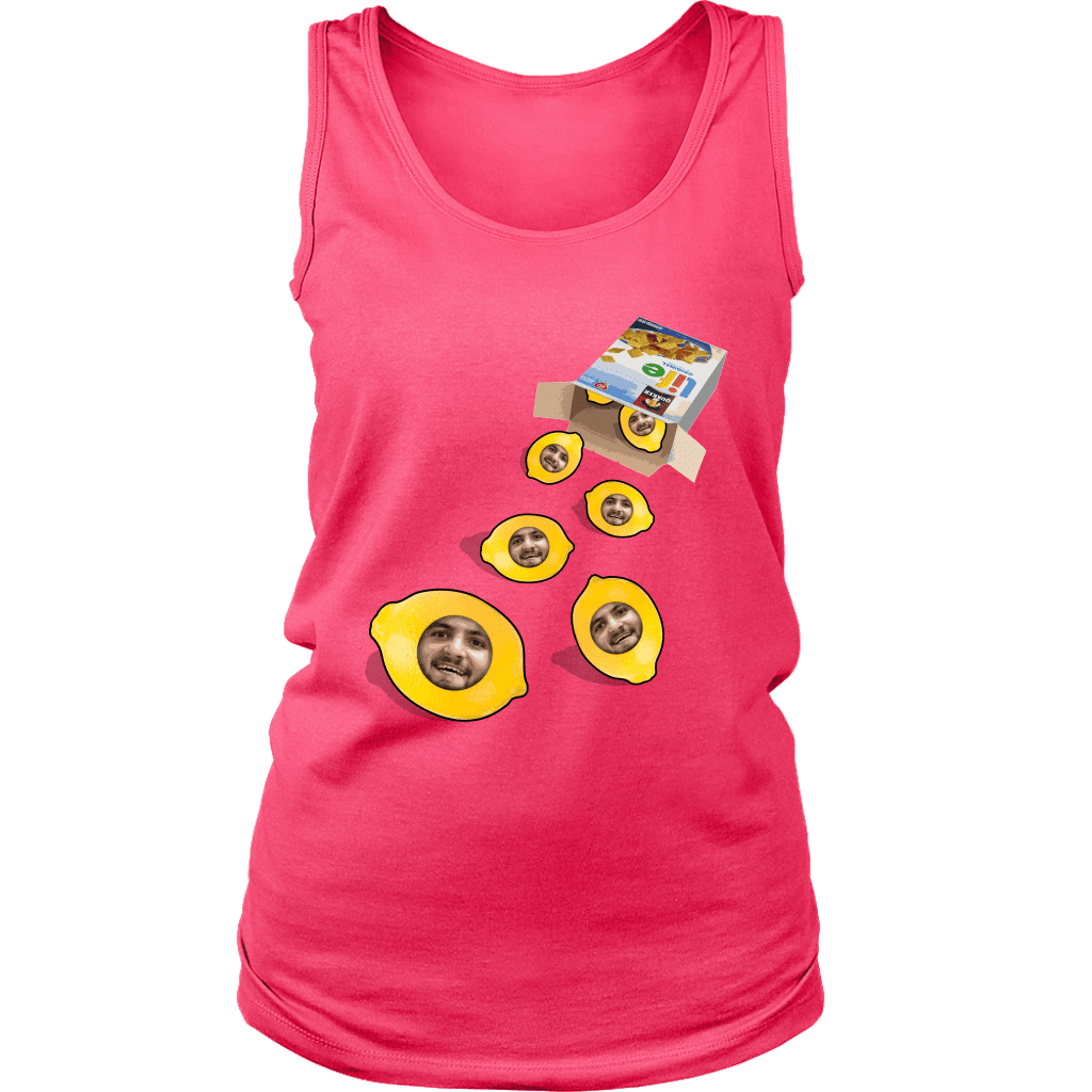 A women's tank top with a box of life cereal tipped over, with lemons rolling out of it with a mans face on each of them.