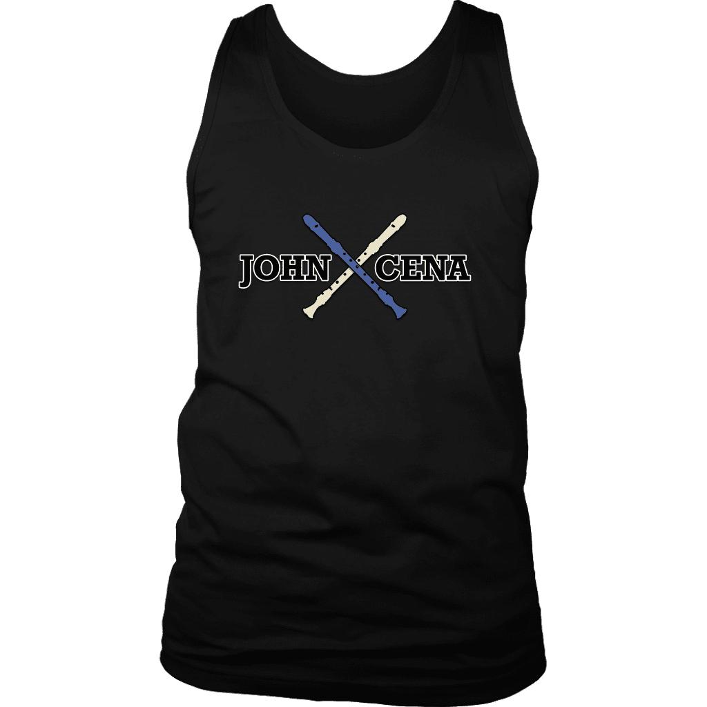 "A mens tank top that says ""John Cena"" with two recorders behind it, referencing the funny nose recorder kid vine."