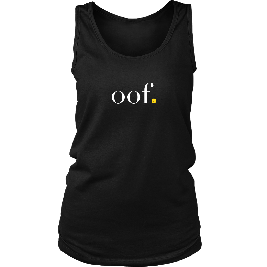 "A womens tank top that says ""oof"" and has a roblox head instead of a period, paying tribute to the popular kids game."