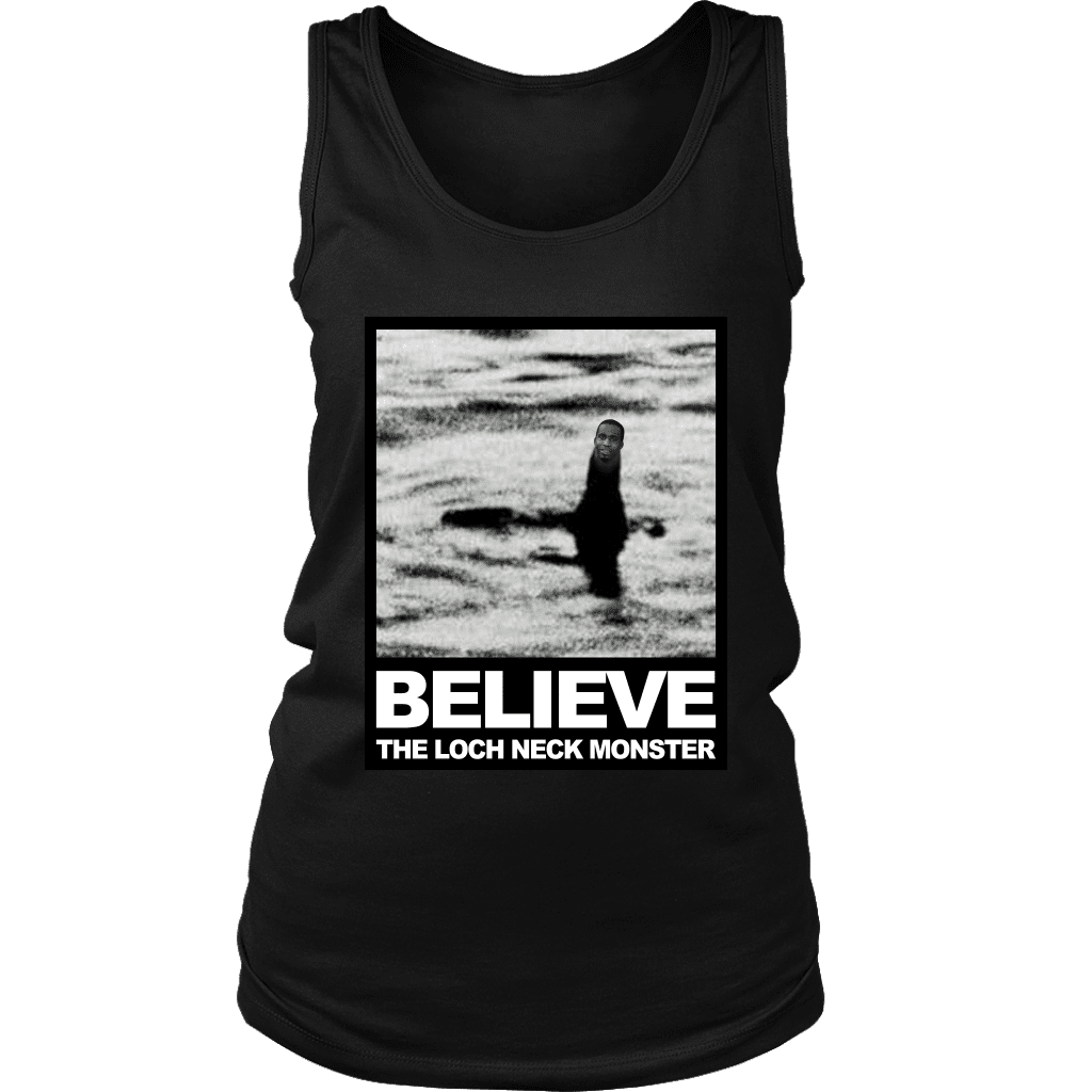 "A women's tank top with a photo compilation of ""big neck guy"" charles dion mcdowell and the Loch Ness Monster."
