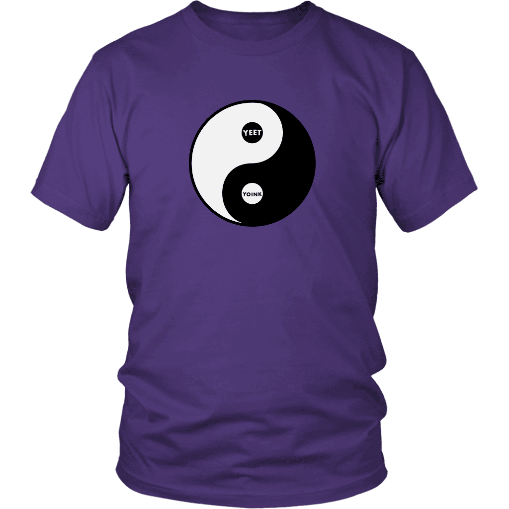 "A unisex tee shirt with the yin/yang symbol, but replaced with ""yeet"" and ""Yoink"""