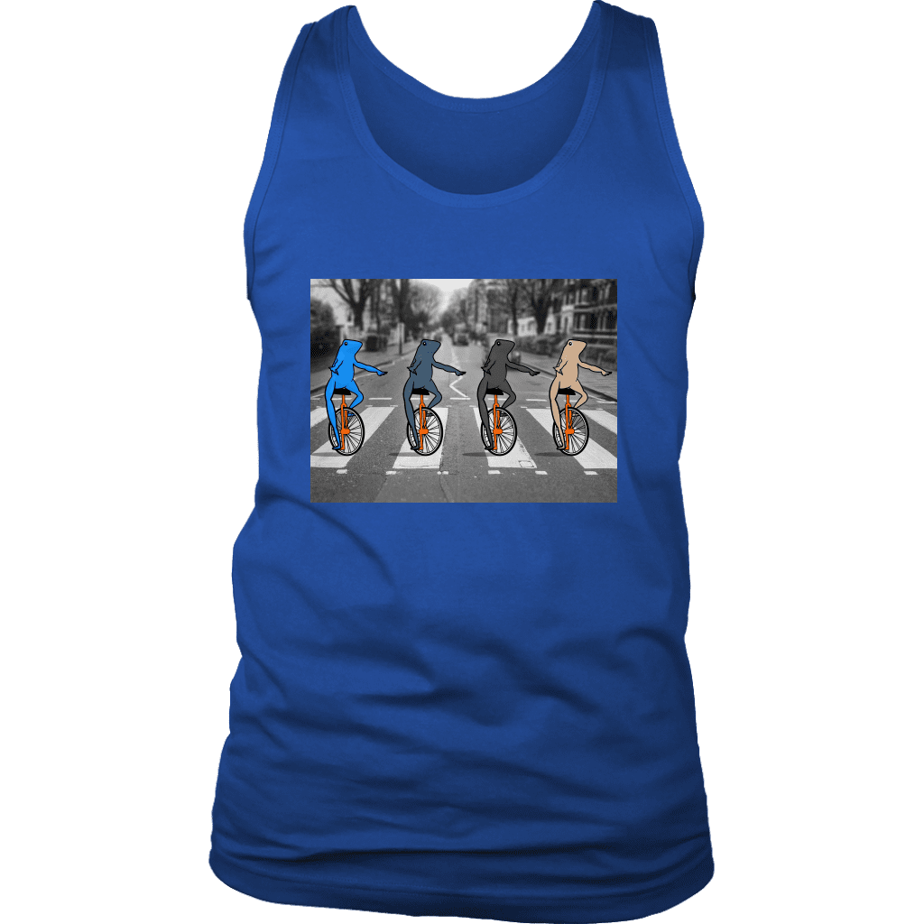 "Mens tank top featuring four multi-colored ""dat boi"" frogs crossing a road on their unicycles, parodying the beatles album."
