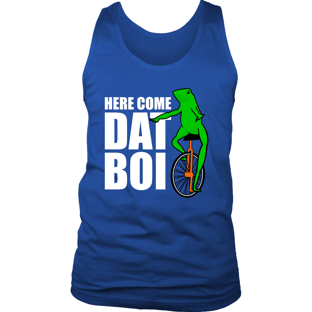 "Mens tank top with cartoon frog on front, referred to as ""dat boi"". Text reads ""here come dat boi."""