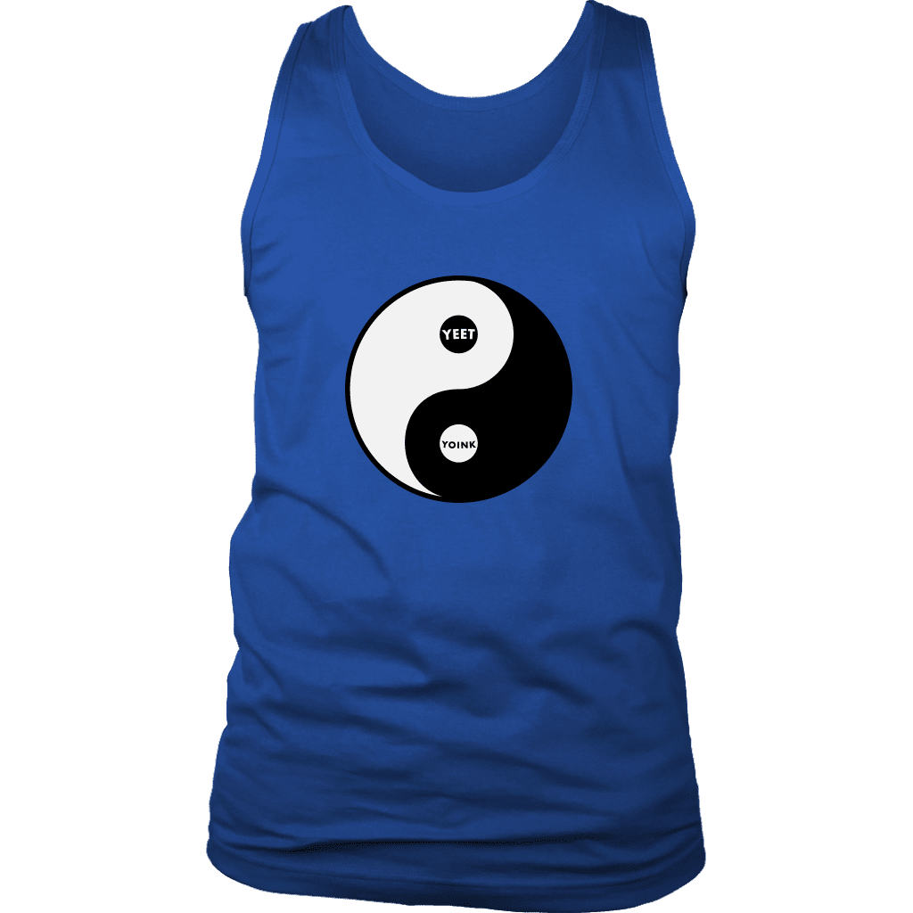 "A mens tank top with the yin/yang symbol, but replaced with ""yeet"" and ""Yoink"""