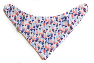 Baby Bandana Bib - Blue and Pink Feathers