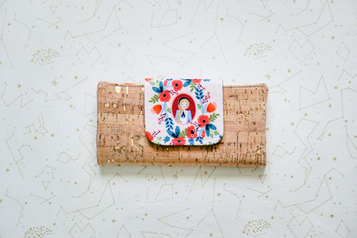 Cork Wallet - Pink Alice on Gold-Flecked Natural
