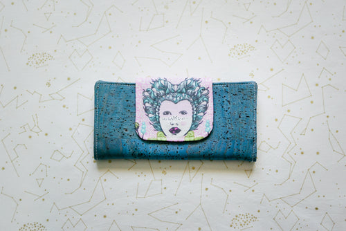 Cork Wallet - Elizabethan Selfie on Blue