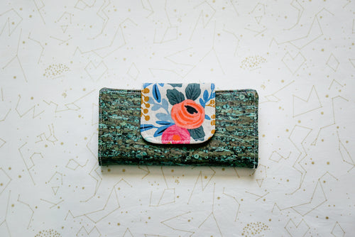 Cork Wallet - Light Floral on Green Fennel