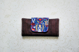 Cork Wallet - Blue Alice on Dark Brown