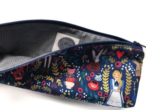 Pencil Pouch - Navy Alice in Wonderland