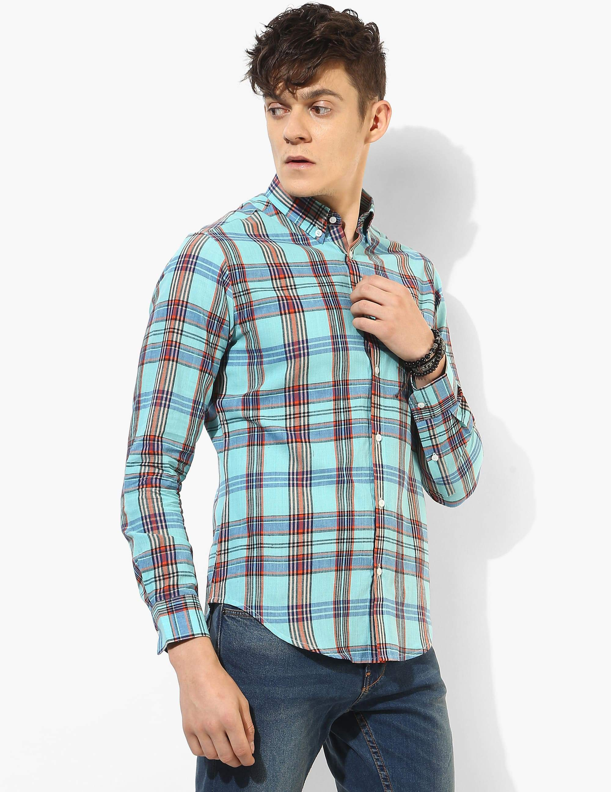 Shredded Blue Madras Shirt
