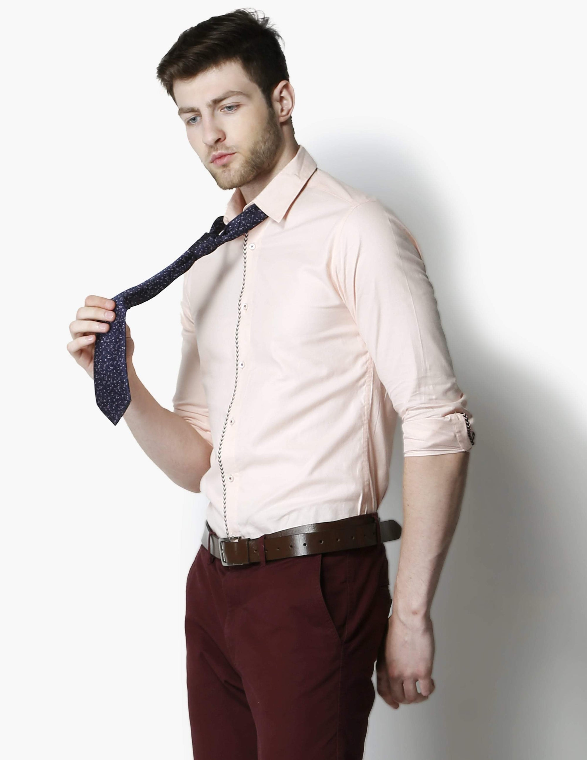 Impeccable Peach Textured Smart Shirt