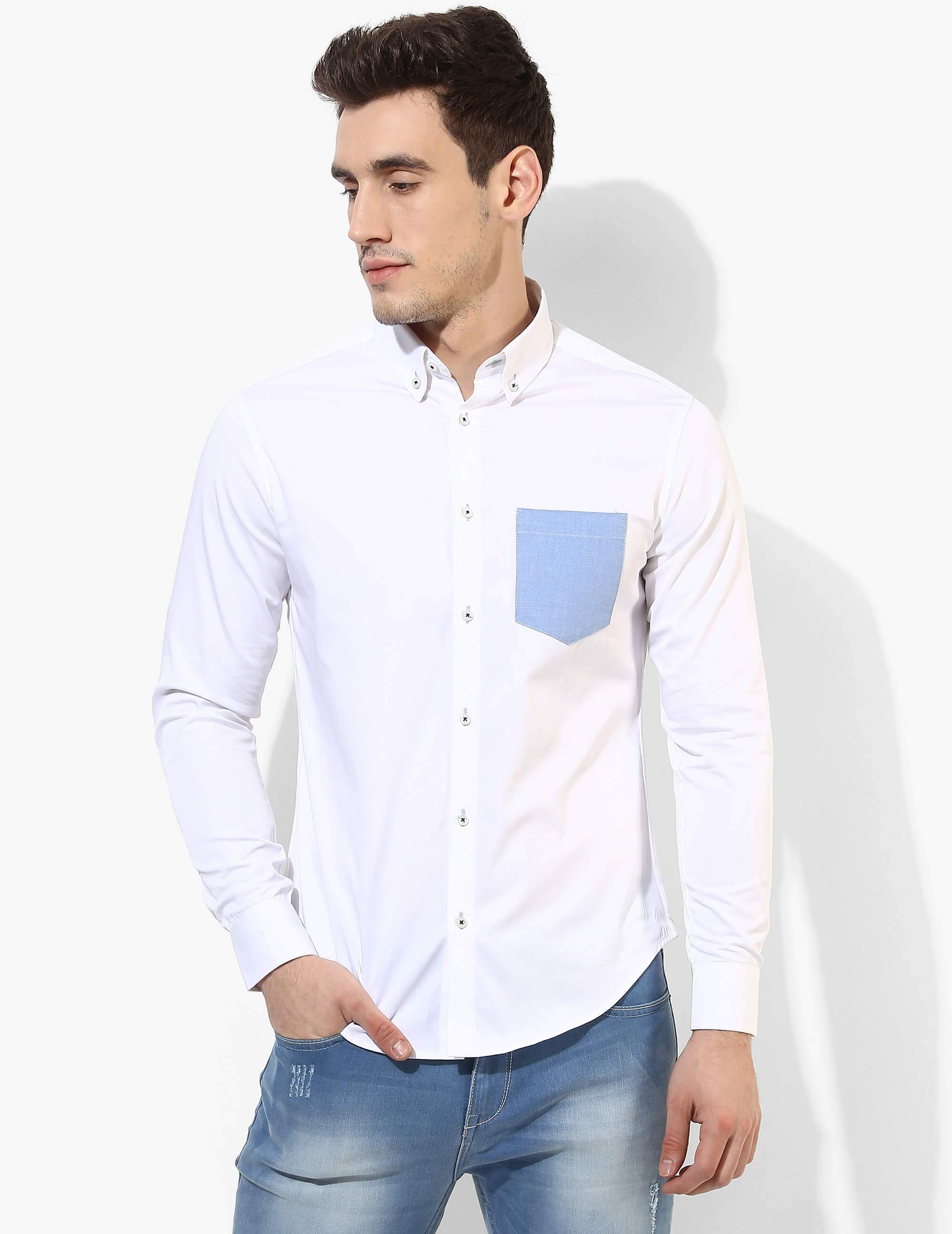 Sturdy White Solid Shirt