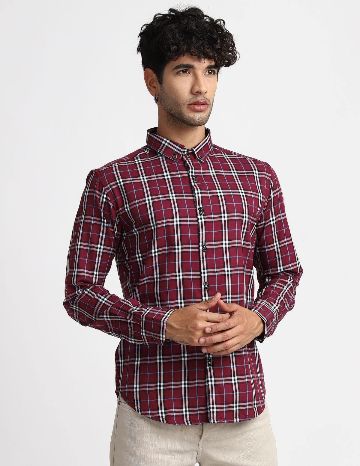 Double Button Wine Premium Check Shirt