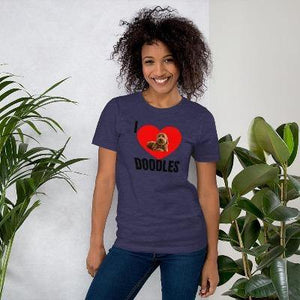 Sharing the Doodle Love is Simple... Get your T-Shirt that expresses your Love for your Doodle Now and share the Love. Let's Go show off and strike up conversations about your Doodle will be easy with These Amazing T-Shirts.  Our T-Shirts are printed right here in the United States and are available in various sizes. These T-Shirts are Personally made and designed with you in mind. This T-Shirt is everything you've dreamed of and more.