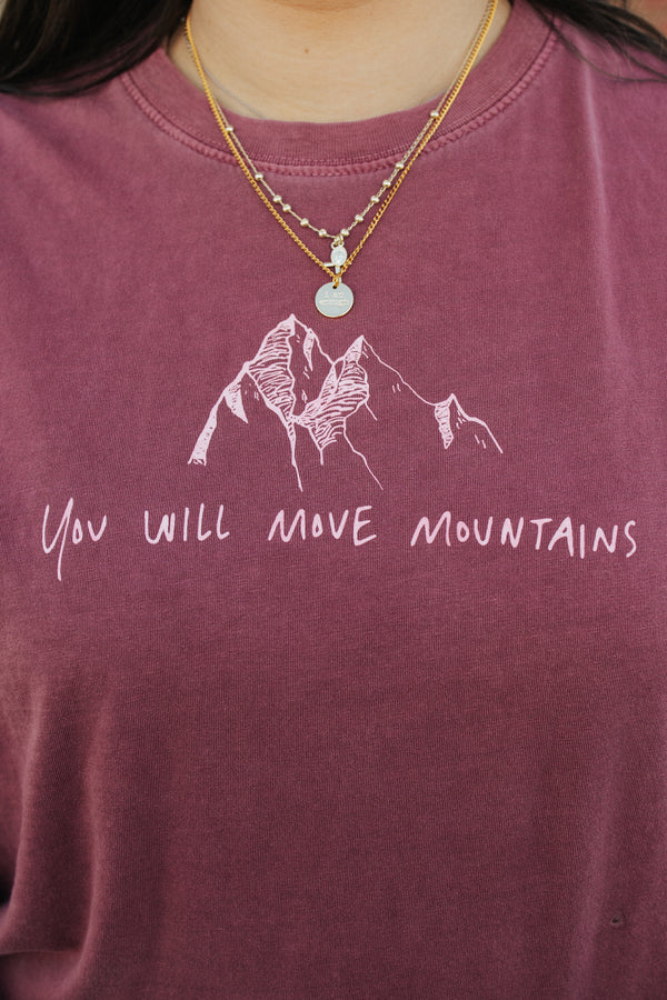 Move Mountains Tee Rust Red [Handwritten]