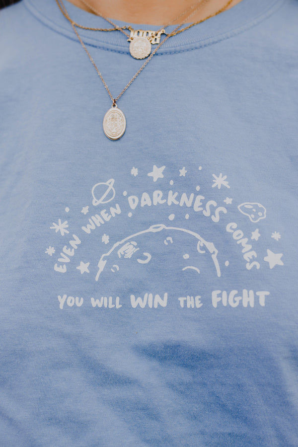 Win The Fight Blue Tee