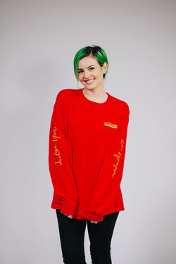 Red Long Sleeve ILYOW Tee