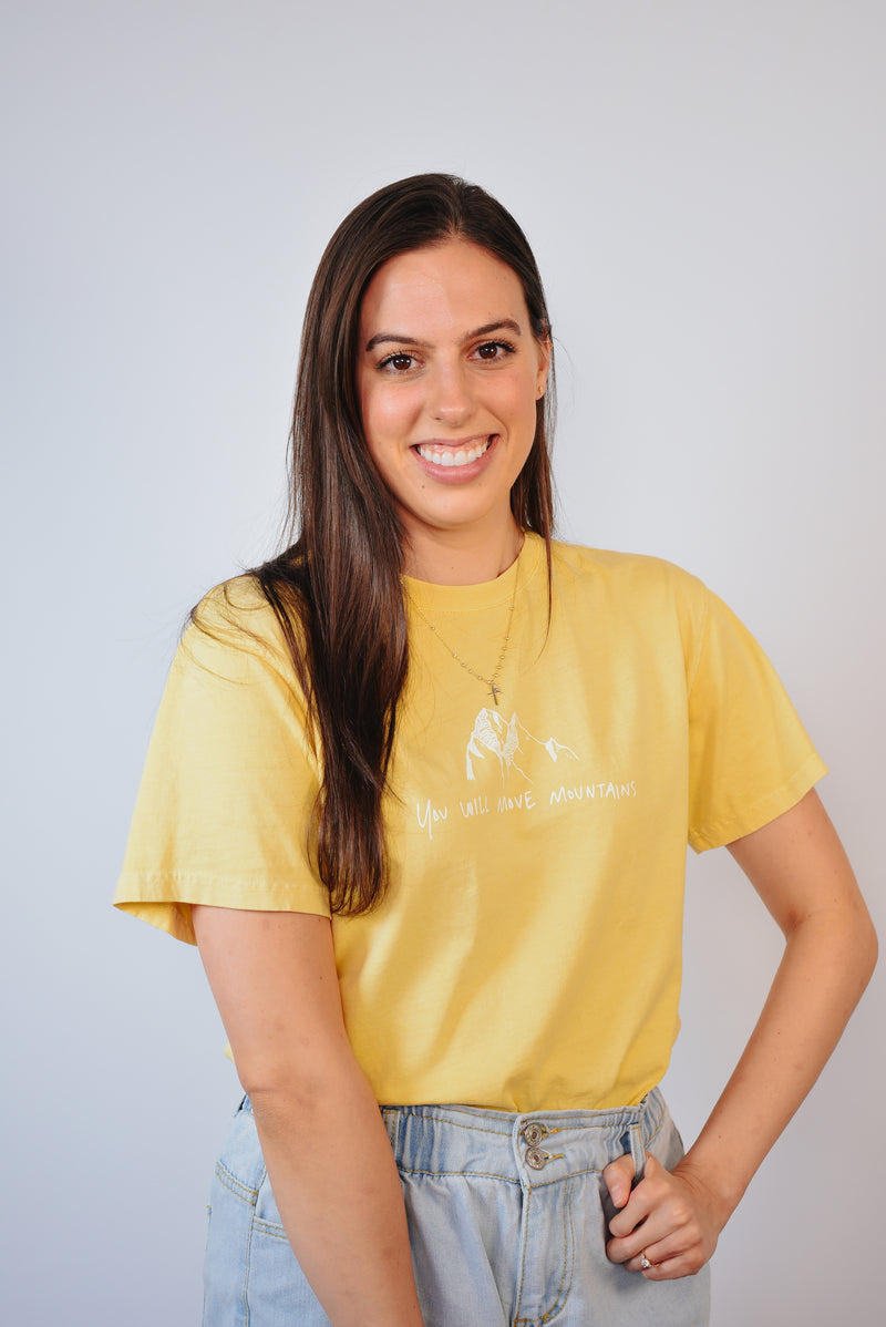 Move Mountains Yellow Tee [HAND-WRITTEN]