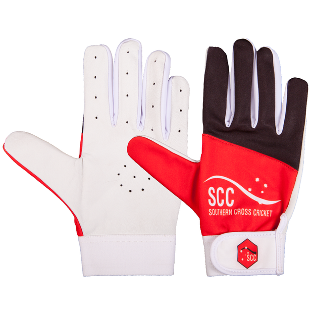SCC Conqueror Slim Fit Indoor Cricket Glove-Red