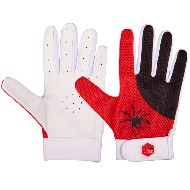 SCC SA Spiders Slim Fit Indoor Cricket Glove-Red