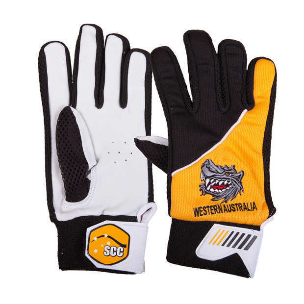 SCC WA Wolves Traditional Indoor Cricket Glove-Yellow