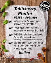 Laden Sie das Bild in den Galerie-Viewer, Tellicherry Pfeffer Infoblatt